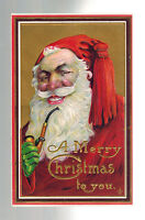 1912 Embossed Postcard Cover Christmas Santa Claus with Pipe