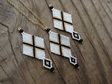 OOAK white gold black X Diamond Boho Native delica beaded necklace earring set