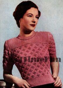 Knitting Pattern Vintage Ladies 1940s Patterned Jumper.