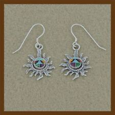 earrings navajo sun with turquoise stone inlay,high quality,92.5 sterling silver
