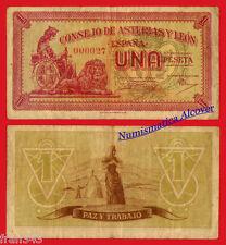 SPAIN 1 Peseta CONSEJO DE ASTURIAS Y LEON  Número muy bajo 000027