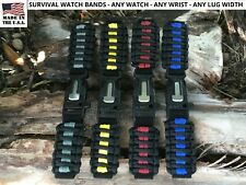 16 to 28 mm Black Adjustable Survival Paracord Watch Band ANY WATCH WRIST LUG