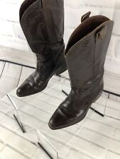 JOAN & DAVID Women's Brown Leather Cowboy Snake Print Boots Made In Italy Sz 5.5