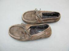 UGG Australia Olsen Size 7 Men's Brown Suede 100%Sheepskin Warm Slippers 1D