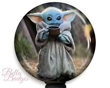 Baby Yoda Drinking Soup Star Wars Badge Reel Name Tag ID Pull Clip Holder