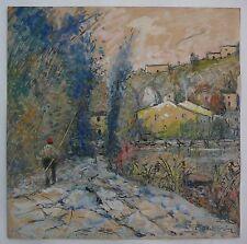 DUVAL GOZLAN Léon 1853-1941. Pêcheur sur la Sèvre Nantaise. peinture Originale