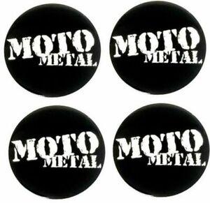 """4 Moto Metal 2.4"""" 60mm Black Center Cap Emblems Large Logo MO957 958 959 960 961"""