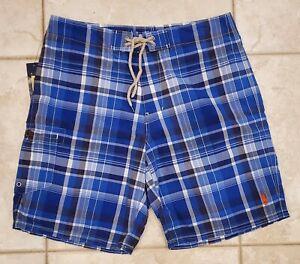NWT Men's Polo Ralph Lauren Shelter Island Blue Plaid Swim Trunks Boardshorts