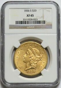 1856 S GOLD $20 LIBERTY DOUBLE EAGLE COIN NGC EXTRA FINE 45 XF 45