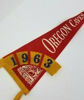 1963 Vintage Pennant Flag Oregon Caves Red Orange Rare Two Felt Pieces Woven