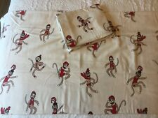 Vermont Country Store Sock Monkey 2 King Pillowcases & Bottom Flannel Sheet Nice