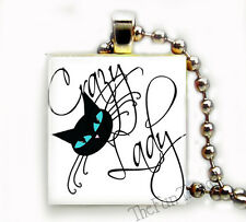 Crazy Cat Lady Recycled Scrabble Tile Art Pendant Necklace Charm Cat Lovers Gift