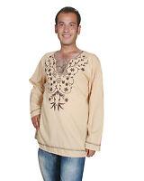 wunderschöne Moderne orientalische Herren Tunika mit stickerei in beige KAM00620