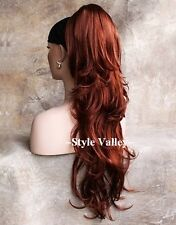 LONG Red Ponytail Hairpiece Extension Wavy Claw/Jaw Clip in on Hair Piece