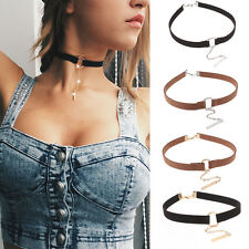 Leather Choker Charm Necklace Vintage Hippy Chocker Retro Leather Cord Classic