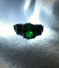 EMERALD GREEN OVAL/SMALL EMERALD SHAPE CRYSTALS VANCARO STYLE BLACK RHODIUM RING
