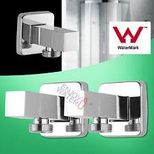 Chrome Square Laundry Washing Machine 1/4 Turn Taps pair brass Stops
