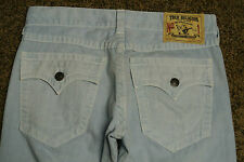 TRUE RELIGION RICKY Sample Jeans 32X33 NWOT$329 BABY BLUE! TR Logo Pockets! RARE