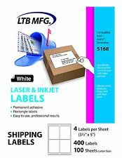 Shipping Labels for Laser Inkjet Printer Self Adhesive 4 Per Sheet 3.5 x 5 400