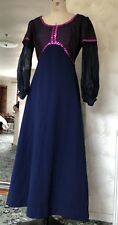 SIZE 12  TRUE VINTAGE 70S A LINE NAVY PINK MAXI DRESS SEQUIN DETAIL PUFF SLEEVES