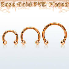 2 PCS 18G Rose Gold Plated Horseshoe Circular Barbell with 2 mm Balls