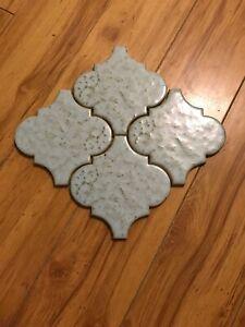 4 Vintage Blue Ceramic Tile Lantern Brown Speckle