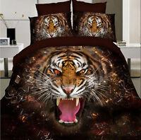 New 3D Print Duvet Cover Quilt Cover Bed Set Queen Size Tiger Bedding Set 3pcs