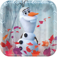 Frozen Olaf Party Plates Square Metallic Dessert/Snack Size 17cm Pack of 8