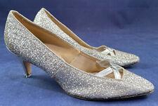 Vtg 1960s Mod Silver Glitter Crisscross Leather Strap Kitten Heel Evening Shoes
