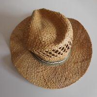 Chapeau femme homme 100% paille naturelle taille 55 vintage XXe France N3359
