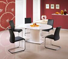 """""""FEDERICO"""" White High Gloss Round (Oval) Extending Dining Table"""