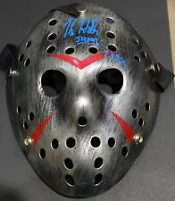 BLACK/SILVER FRIDAY THE 13TH JASON VOORHEES MASK - SIGNED BY KANE HODDER W/COA