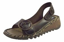 Fly London Women's Tram 723 Bridle Leather Buckle Sandal Dark Brown UK 7