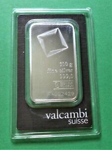 SEALED VALCAMBI SUISSE 100 GRAM .999 SILVER BAR