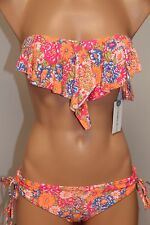 NWT Oneill Swimsuit Bikini 2 piece set Sz XS Citrus Floral Ruffle PNK Cinch