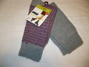 No Nonsense Women's Mid Calf Boot Socks Shoe Size 4-10 Gray Purple 2 Pair