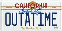 CHRISTOPHER LLOYD SIGNED AUTO BACK TO THE FUTURE LICENSE PLATE BECKETT BAS COA 4