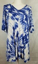 Cynthia Rowley womens plus size XL blue designed short sleeve blouse shirt