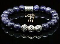 Blaufluss blau Armband Bracelet Perlenarmband Silber Beads 8mm