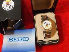 VTG DISNEY SEIKO MICKEY MOUSE WATCH - MENS 2 TONED  BRACELET W/ DAY & DATE DIAL