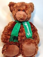 Gund Scrunchy Bear Heads and Tails Teddy Plush Brown Grizzly Animal Green Scarf