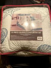 Bed Bath & Beyond 12 Piece Queen Comforter Set in Teal/White with Beach Design