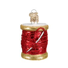 Old World Christmas Spool Of Red Thread Glass Christmas Ornament 32104