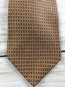 Mens Todays Man Neck Tie Red Black Gold Check Hatch 100% Silk Made in USA