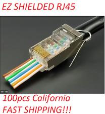 EZ RJ45 Cat5e Shielded Connectors 50 micron gold esd ground wire TC-CON-100