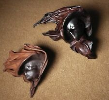 Lot of 2. Leather Masks. Hand Crafted Faces. Wall Art Decorative Argentina.