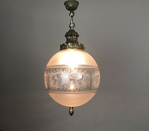 Vintage French Gilt Bronze & Etched Glass Globe Pendant