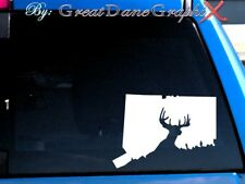 Connecticut Deer Hunting Vinyl Decal Sticker / Color - HIGH QUALITY