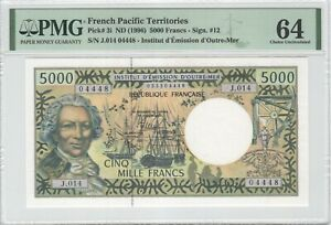 French Pacific Territories 5000 Francs 1997 P-3i PMG 64