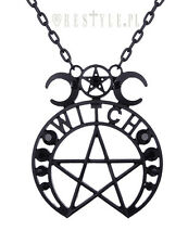 Restyle Witch Moon Pendant Occult Gothic Punk Black Crescent Pentagram Necklace